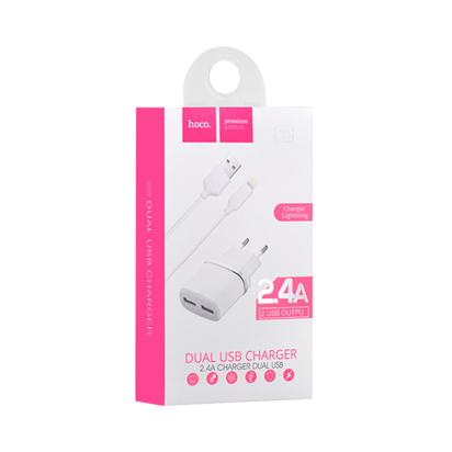 Kucni punjac HOCO C12 Smart dual USB iPhone Lightning beli