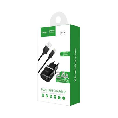Kucni punjac HOCO C12 Smart dual USB iPhone Lightning crni