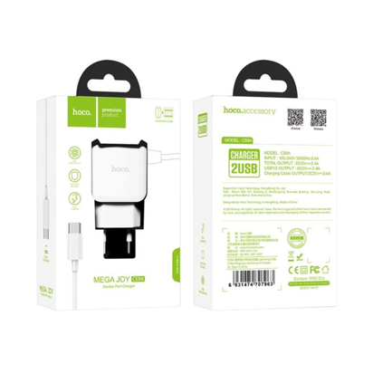 Kucni punjac HOCO C59A Mega joy dual USB Type-C beli