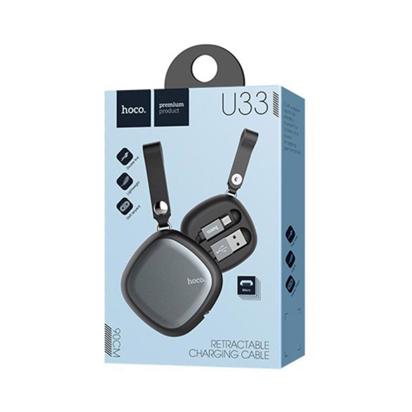 Data kabal Hoco U33 na izvlačenje Micro USB crni