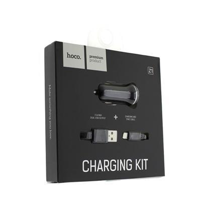 Auto punjac HOCO Z1 dual USB+Micro USB kabal crni