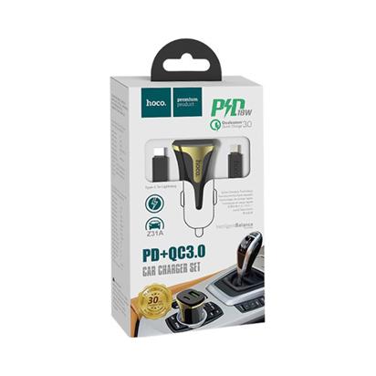 Auto punjac HOCO Z31 Universe dual USB QC3.0+iPhone Lightning kabal crni