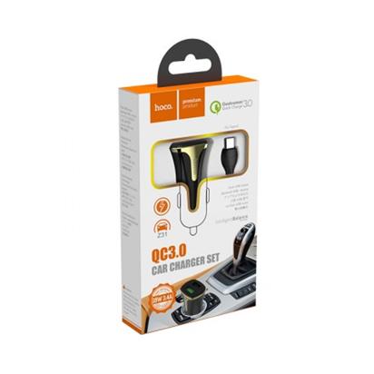 Auto punjac HOCO Z31 Universe dual USB QC3.0+Type-C kabal crni
