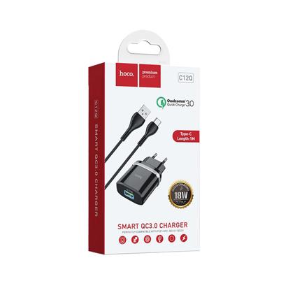 Kucni punjac HOCO C12Q Smart QC3.0 Type C (EU) beli
