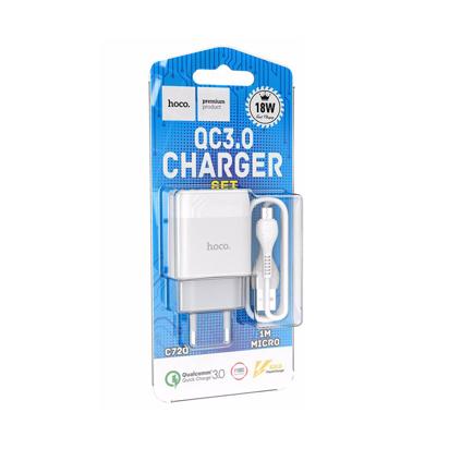 Kucni punjac Hoco C72Q Glorious QC3.0 Micro USB beli