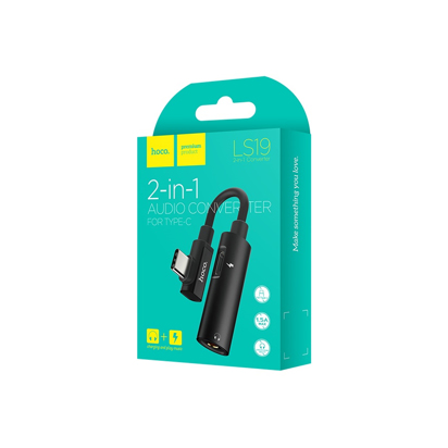 Adapter Hoco LS19 Type-C 2in1 Audio Konverter crni