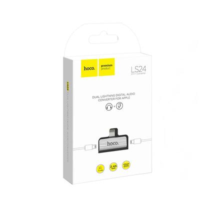 Adapter Hoco LS24 Dual Iphone Lightning Audio konverter srebrni