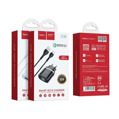 Kucni punjac HOCO C12Q Smart QC3.0 Type C (EU) crni