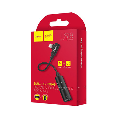 Adapter Hoco LS18 Dual lightning Audio Konverter crni